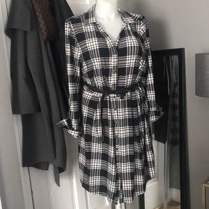Black & White Plaid Button Shirt Dress 3X 18 20